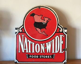 "Single sided porcelain 'Nation-Wide' Food Stores sign - 36"" x 32"""