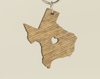 Texas Wooden Keychain Oak Stain - Wooden Texas Carved Key Ring - Wooden TX Charm - State of Texas Keyring - Texas Shaped State Keychain