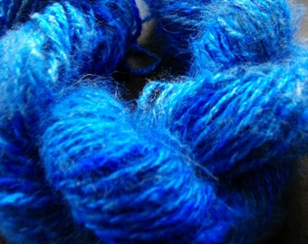 Handspun Yarn 100% Angora Rabbit Hand dyed blue, D.K. Wt