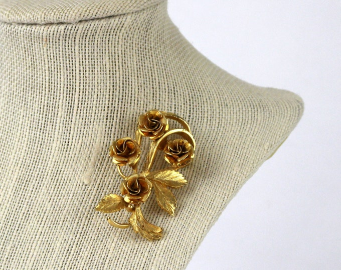 Gold Rose Bouquet Brooch - Coro Golden Rose Pin - Vintage 1960s Flower Brooch
