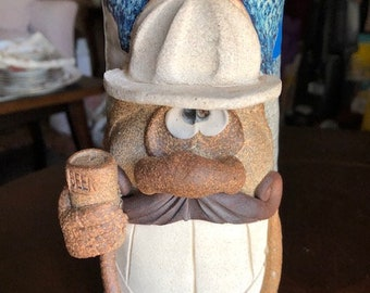 Eakin stoneware funny 9in tall face stein of a construction worker holding a beer