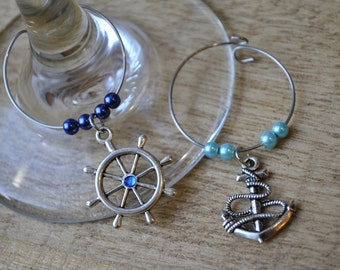 Anchors Away wine charms, set of 2