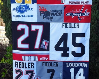 Extra Large Custom Memory Quilt with Sports Jerseys, lasting memory quilt, throw quilt, personalized quilt with Sport Jerseys by Sew4MyLoves