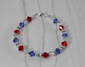 Sterling Red White and Blue Patriotic USA Swarovski Bracelet