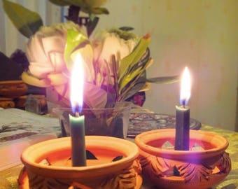 Green-The Anahata Chakra  Meditation Balancing Candles Set-Antik's aura candles