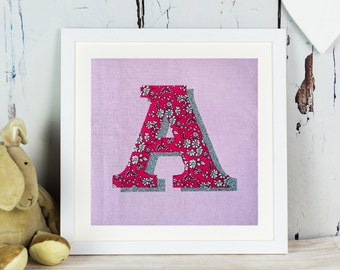 Liberty Glitter Initial Print - letter - monogram - personalised gift for girl- Liberty of London - personalized - pink - fabric art