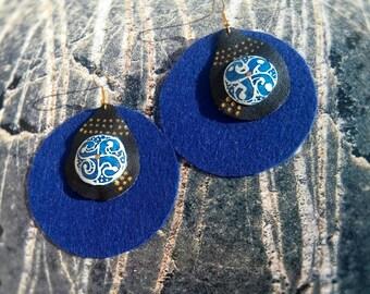 Large, long blue earrings, leatherette felt,pysanka pysanky inset with shell goose egg, circle, infinity, blue sun, tripolye,  summer 2018