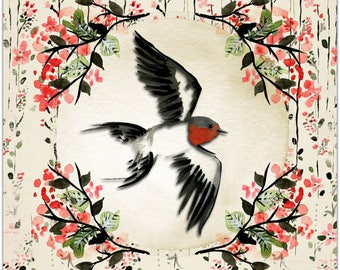 The oriental style bird greeting card handmade 15cm x 15cm