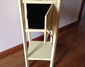 Antique Painted Walnut Humidor Smokers Stand, Wood Humidor, Yellow Vintage Humidor