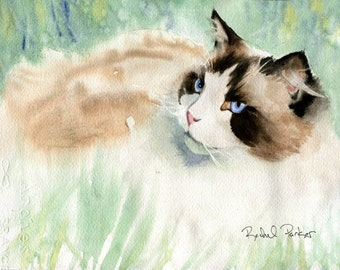 Ragdoll Cat Art  Print of my Watercolor Painting Portrait Gift Christmas unique large big huge hand painted