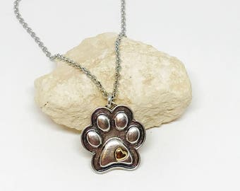 Puppy Paw Necklace, Dog Jewelry, Puppy Jewelry