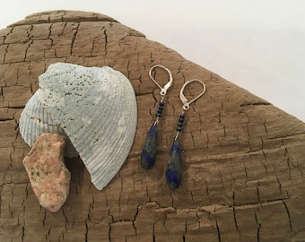 Blue Lapis  Lazuli and Fresh Water Pearl Earrings