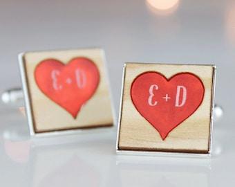 Personalised Cufflinks - Heart Cufflinks - Wedding Cufflinks - Custom Cufflinks - Groom Gift - Personalised Gift for Him - Monogram Cufflink