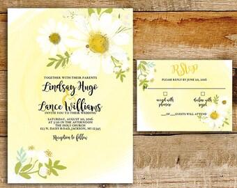 Daisy Wedding Invitation & RSVP | White Daisies | Yellow watercolor | printable wedding invitations