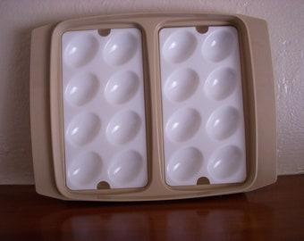 Vintage Tupperware Deviled Egg Holder, Beige With White Lid