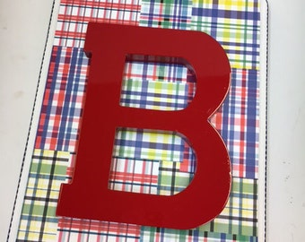 Madras Letter Monogram or Name Plaques- Large 9 x12 boy or girl SOLD PER LETTER