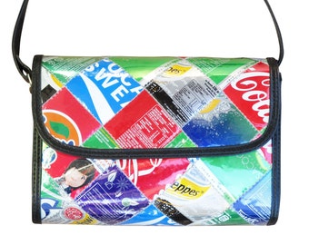 Medium cross-body using soda can, FREE SHIPPING, Upcycled bag, cross body purse, boho bag, shoulder bag, recycled soda can bag, vegan gift