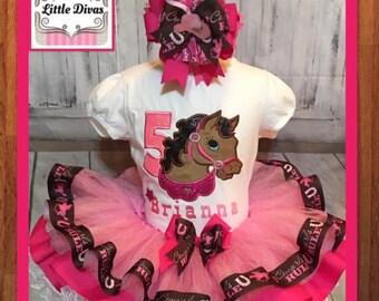 Western tutu, horse tutu, country tutu, western Birthday tutu set, western Birthday, horse embroidery, western embroidered shirt