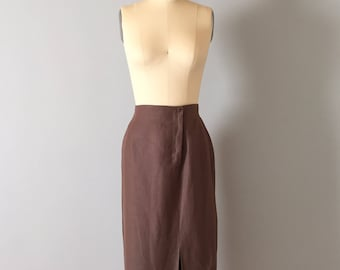 silk and linen cocoa maxi skirt || 90s EPISODE by Carolyn Wight Freeman || side slit skirt