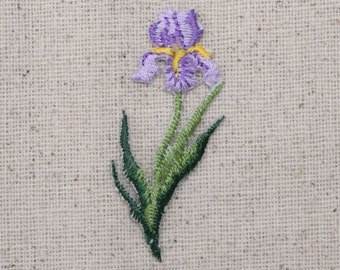 Purple Iris - Small - Flower - Iron on Applique - Embroidered Patch - 694935-A