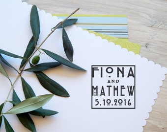 Custom  Charles Rennie Mackintosh Inspired Save the Date/Wedding Date Olive Wood  Stamp