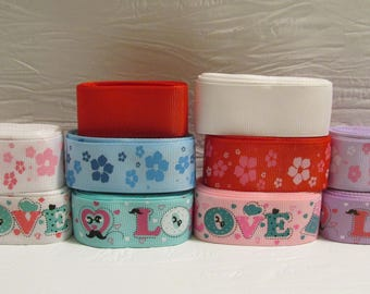 Grosgrain ribbon bundle 12 yards of a variety of love and flower prints, with white and red solid ribbon, Kit