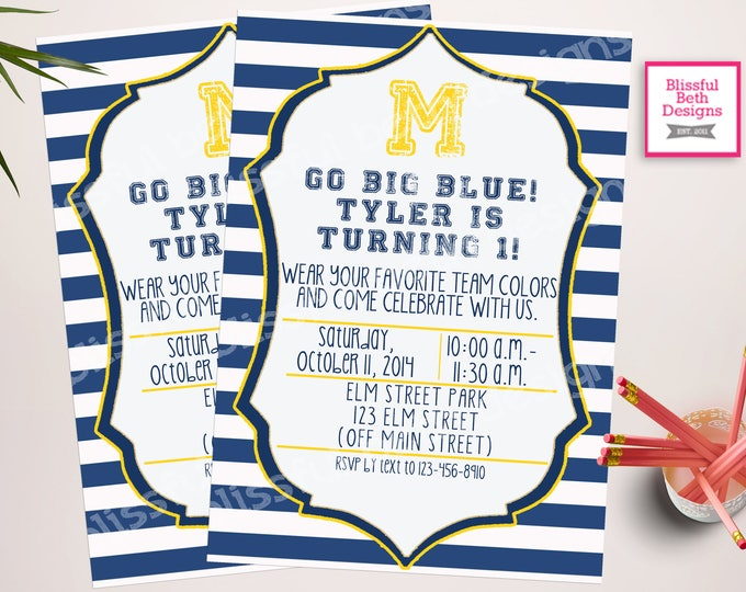 Michigan Birthday Invite, Michigan Birthday Invitation, Michigan Birthday Invitation, Michigan Invitation, Michigan, Big Blue, Go Big Blue
