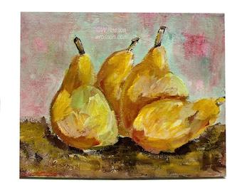 Pear Painting, Still Life Painting, Modern Still Life, Kitchen Decor, Home Decor, Restaurant Decor, Original Painting, Winjimir, Art, Gift