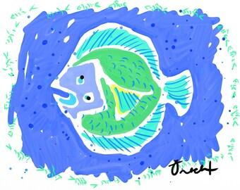 Fish Art 16x20 Print by Kelly Tracht, Watercolor, Preppy Art, Nautical Decor Art, Beach Art, Ocean Painting, Item #5E