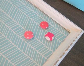 Shabby White Fabric Magnetic Board Aqua Memo Board Kitchen Magnet Board Teen Girl Room Decor Office Wall