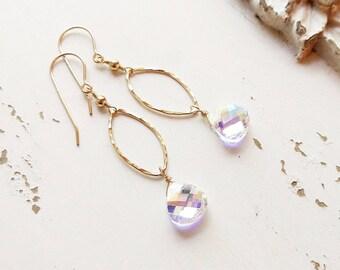 Dainty Crystal Earrings, Gold Crystal Earrings, Bridesmaids Earrings, Dainty Earrings, Bridal Jewelry, Everyday Earrings, Minimal Earrings
