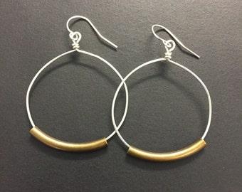 Hoop Earrings - 1 1/4 Inch Sterling Silver Hoop Earrings - Rustic Hoop Earrings - Mixed Metal Earrings - All Silver Earrings