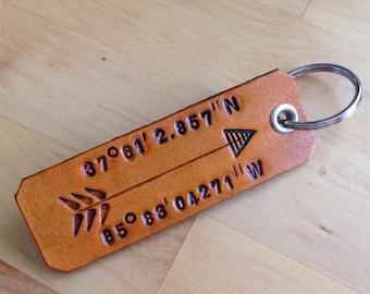 Keychain Leather Keychain Longitude Latitude Keychain Love GPS location 3rd Anniversary Gift for Men Leather Anniversary- Love That Leather
