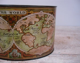 metal map desk caddy / tin litho