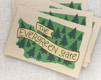 The Evergreen State Postcards / Postcard Set of 6 / Washington State Souvenir Postcard / Washington State Art / Souvenir Travel Postcard