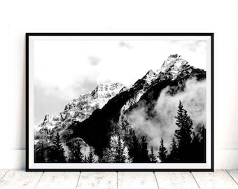 Mountain Print, Landscape Print, Mountain Wall Art, Black and White Print, Wall Print Art, Printable Art, Mountain Art, Mountain Photo Print