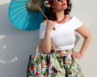 Custom made Exotic print 50s style circle skirt and matching bamboo handle bag , All sizes and plus sizes
