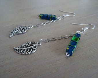 Dangling earrings featuring a blue green square beads / unique