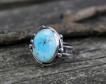 Blue bird mine turquoise ring / sterling silver bramble ring / boho turquoise ring / jewelry sale / gift for her / made in the USA