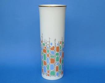 AK KAISER Porcelain VASE - White Gold & Coloured Mid Century Modern Design 31cm - Op Art