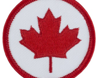 Canadian Maple Leaf Patch 2 Inch Diameter Embroidered Patch