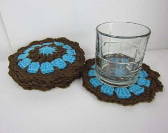 Crochet round coasters, doily, crochet trivet, turquoise blue and brown