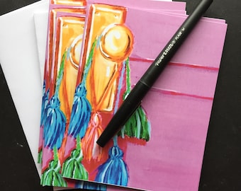 Pink Door with Colored Tassels Notecard Set from Original Painting
