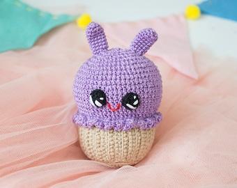Purple  bunny cupcake, Crochet Baby toy ,Kawai Amigirumi Play Food Soft Toy, Plush Cake, children's rooms Decor