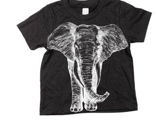 Kids Black Elephant Tshirt  - Eco-Friendly - Children - Kids - Kid Nature Gift - Organic - Toddler - Small, Medium, Large - Boy - Girl