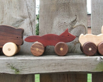 Woodland Animals - Set of Three Wooden Toys, Toddler Push Toys