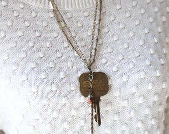 Key & Feather Necklace