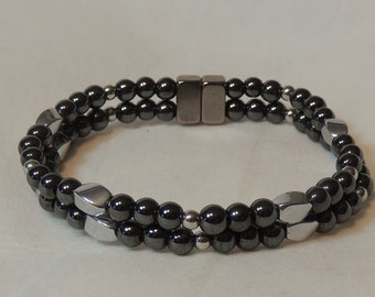Magnetic Hematite Bracelet with silver twists and balls.