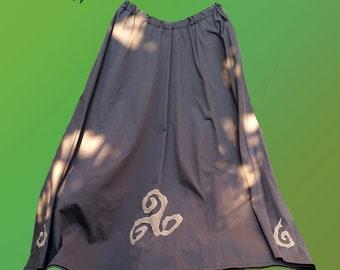 Celtic skirt - long brown skirt with triskel and spiral - pagan fairy faery bohemian hippie indie folk fantasy skirt festival long skirt