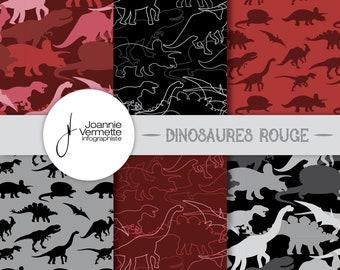 Red dinosaur patterns